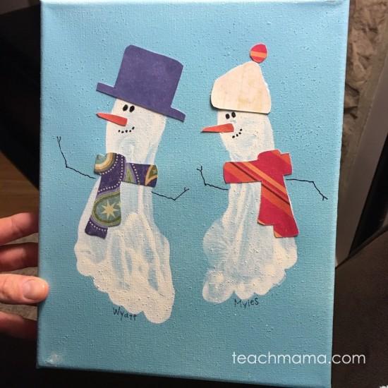 easy snowman footprint craft for kids   teachmama.com