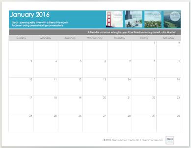 free 2016 live focused calendar | teachmama