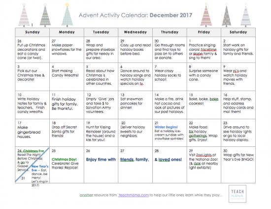 advent activity calendar 2017 teachmama.com_
