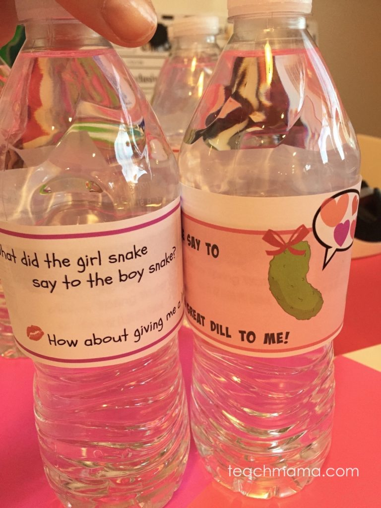 valentine's day water bottle labels: teachmama.com