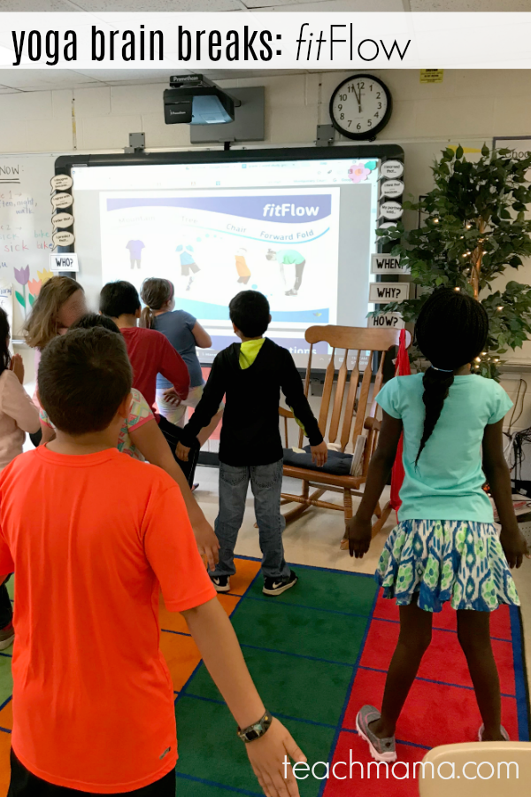 yoga brain breaks: use fitflow to teach kids yoga moves from fit4Schools | teachmama.com