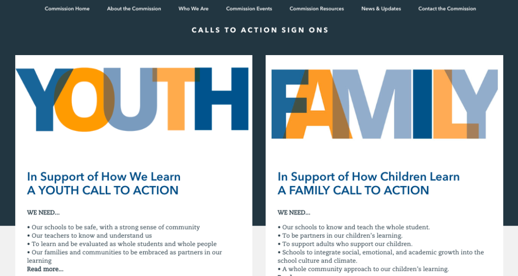 youth and family calls to action sign-on screenshot