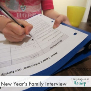 child writing answers to interview