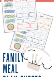 get kids to cook: weekly meal plan sheet