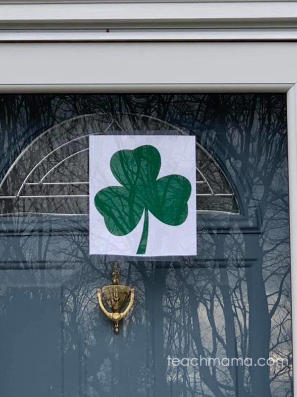 shamrock printed on paper taped to front door