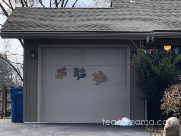 garage with three shamrocks on it