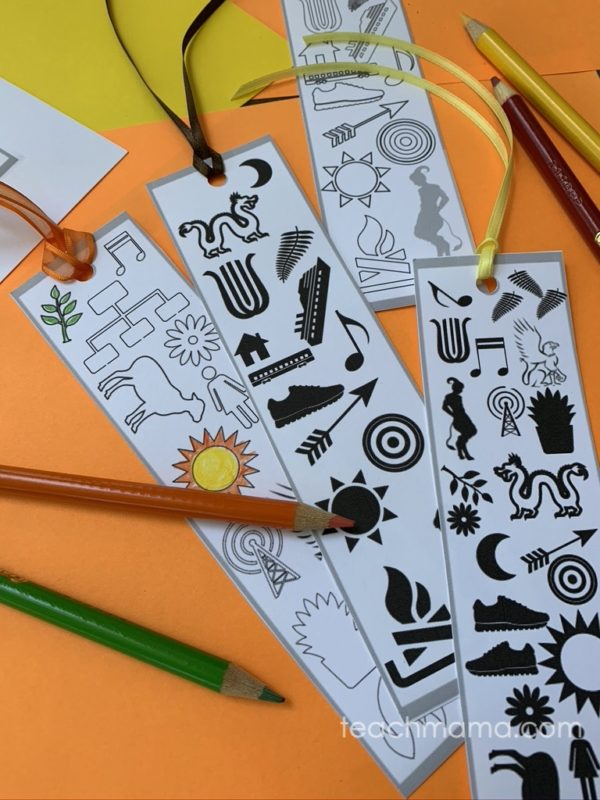 trials of apollo bookmarks on yellow and orange paper