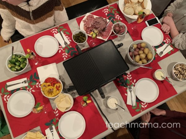 table set with raclette grill