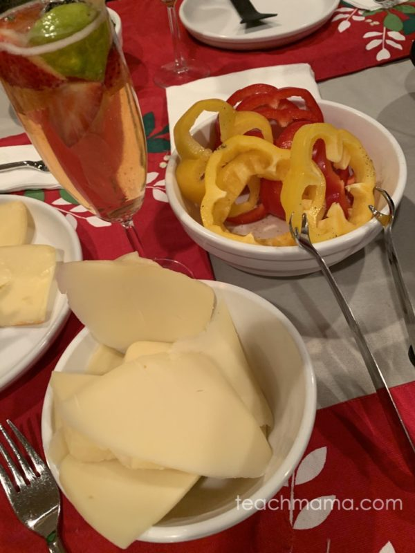 raclette cheese peppers and fancy drink