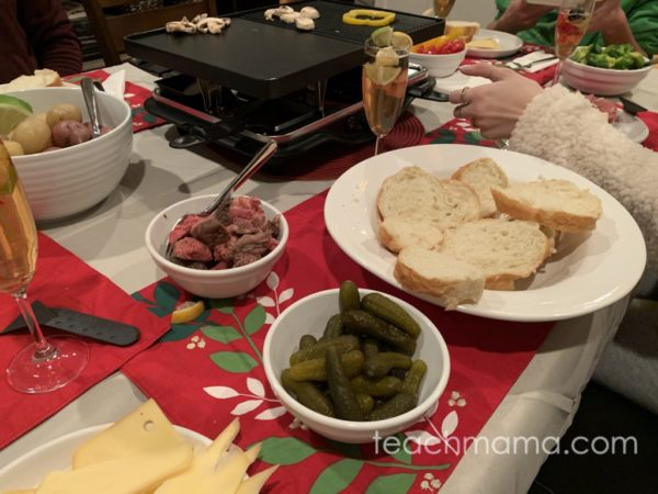 food on table ready for raclette meal